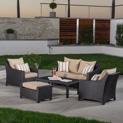 Northridge 5 Piece Deep Seating Group with Cushion Fabric: Maxim Beige
