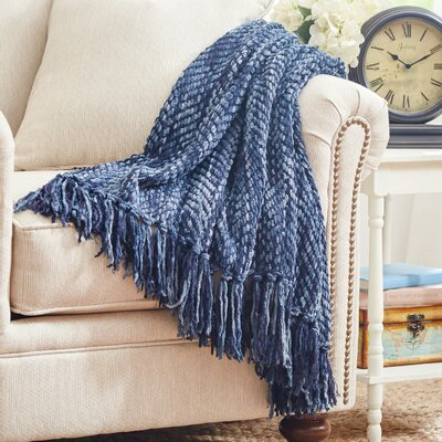 Bella Throw Blanket Color: Navy