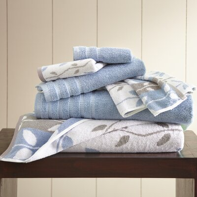 Vines 6 Piece Towel Set Color: Blue