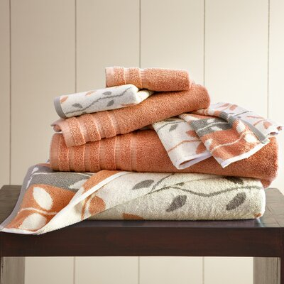Vines 6 Piece Towel Set Color: Coral