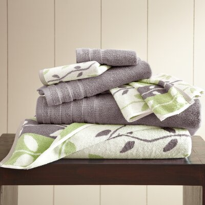Vines 6 Piece Towel Set Color: Ash Gray