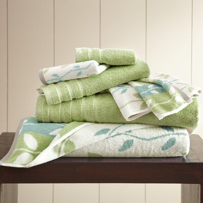 Vines 6 Piece Towel Set Color: Sage Green