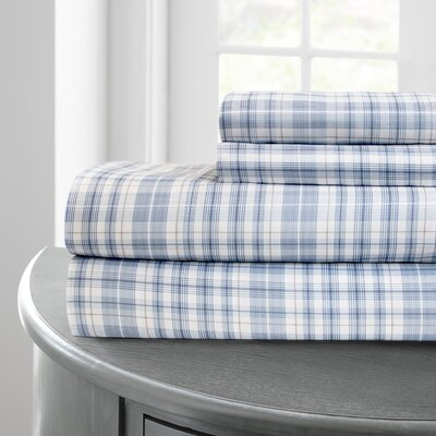 Bayer Plaid Printed Microfiber 4 Piece Sheet Set Size: California King, Color: Blue