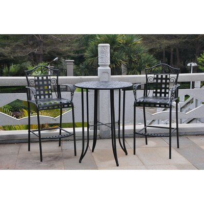 Snowberry 3 Piece Wrought Iron Bar Height Bistro Patio Set Frame Finish: Black Antique