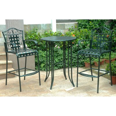 Snowberry 3 Piece Wrought Iron Bar Height Bistro Patio Set Frame Finish: Verti Gris