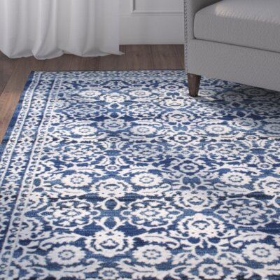 Plumville Dark Blue/Cream Area Rug Rug Size: 67 x 9
