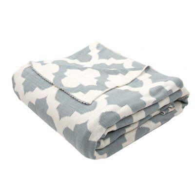 Windermere Handloom Modern Cotton Throw Blanket Color: Blue / Ivory