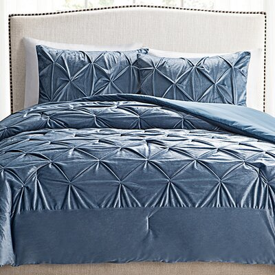 Leontine 3 Piece Comforter Set Size: Full / Queen, Color: Blue