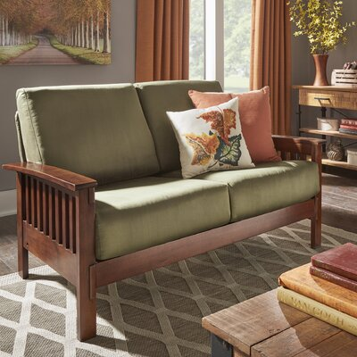 Winnifred Mission Loveseat with Cushions Upholstery: Olive