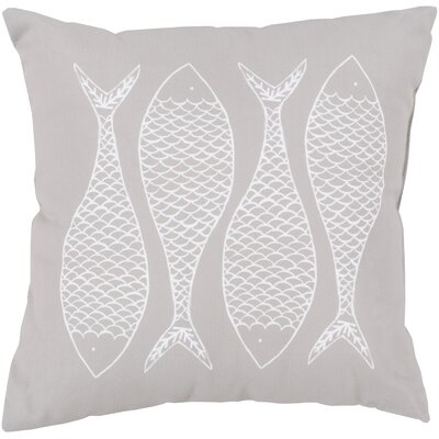 Larson Fabulous Fish Outdoor Throw Pillow Size: 20 H x 20 W x 4 D, Color: Light Gray