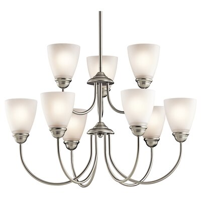Halsey 9-Light LED Shaded Chandelier Finish: Brushed Nickel
