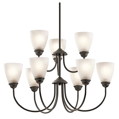 Graybeal 9-Light LED Shaded Chandelier Finish: Olde Bronze