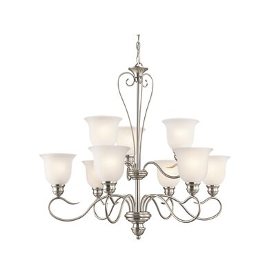 Hertzler 9-Light Shaded Chandelier Finish: Brushed Nickel
