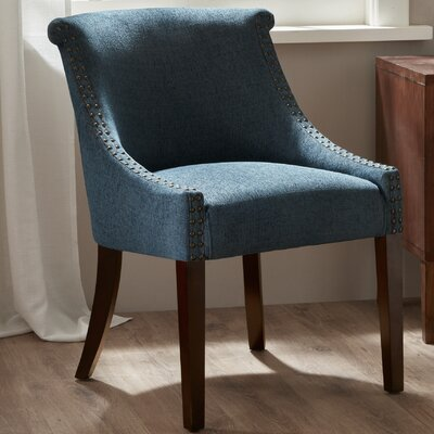Antora Roll Back Barrel Chair Upholstery: Blue, Nailhead Detail: Bronze, Finish: Espresso