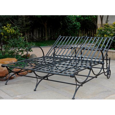 Snowberry Iron Multi-Position Double Patio Chaise Lounge