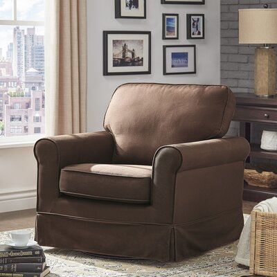 Schumann Cotton Fabric Swivel Armchair Upholstery: Brown