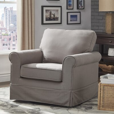 Schumann Cotton Fabric Swivel Armchair Upholstery: Gray