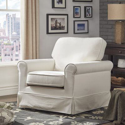 Schumann Cotton Fabric Swivel Armchair Upholstery: White