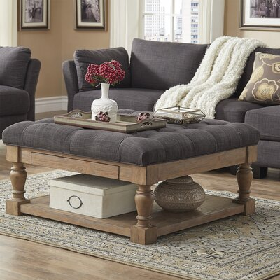Back East Tufted Ottoman Upholstery: Dark Gray, Base Finish: Natural
