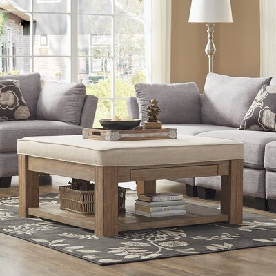 Back East Cross Cushion Ottoman Upholstery: Beige, Base Finish: Natural
