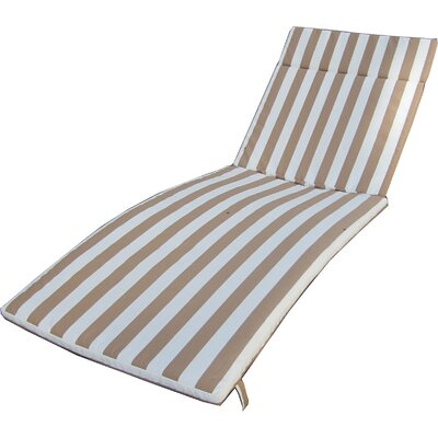 Polyester Outdoor Chaise Lounge Cushion Fabric: Brown/White
