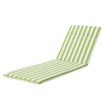 Polyester Outdoor Chaise Lounge Cushion Fabric: Green/White