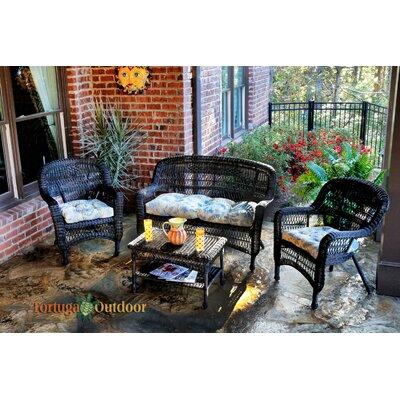 Baden 4 Piece Lounge Seating Group with Cushion Fabric: Miranda Terrace Chamomile, Finish: Amber