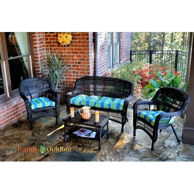 Baden 4 Piece Lounge Seating Group with Cushion Fabric: Haliwell Caribbean, Finish: Amber