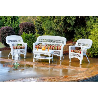 Baden 4 Piece Lounge Seating Group with Cushion Finish: White, Fabric: Eastbay Pompeii