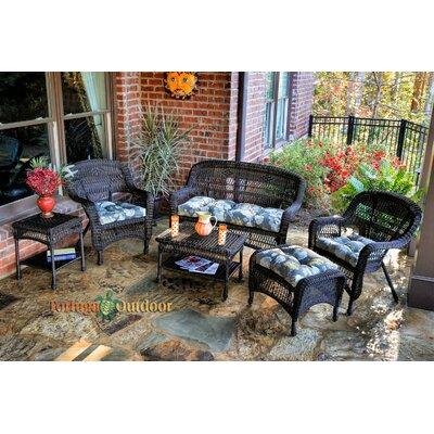 Baden 6 Piece Lounge Seating Group with Cushions Fabric: Miranda Terrace Chamomile, Finish: Dark Roast