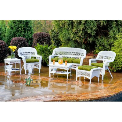 Baden 6 Piece Lounge Seating Group with Cushions Finish: White, Fabric: Monti Leaf
