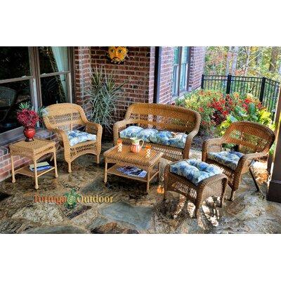 Baden 6 Piece Lounge Seating Group with Cushions Fabric: Miranda Terrace Chamomile, Finish: Amber