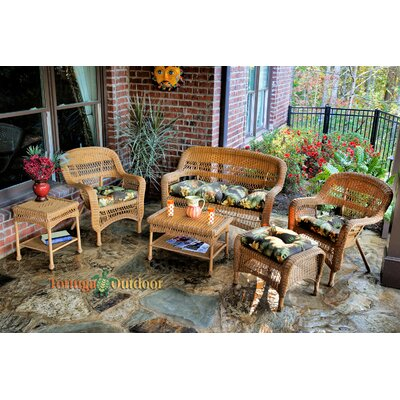 Baden 6 Piece Lounge Seating Group with Cushions Fabric: Haliwell Caribbean, Finish: Dark Roast
