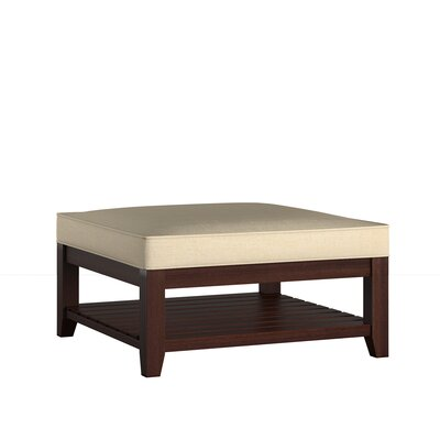 Back East Cross Cushion Ottoman Upholstery: Beige, Base Finish: Espresso