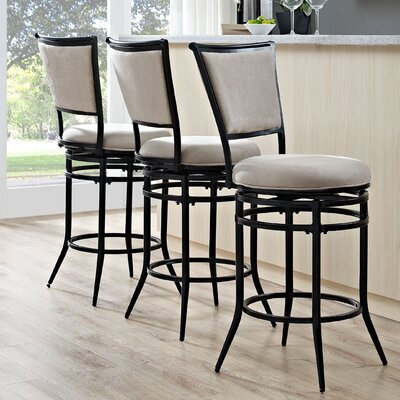 Massena 26 Swivel Counter Bar Stool Upholstery: White
