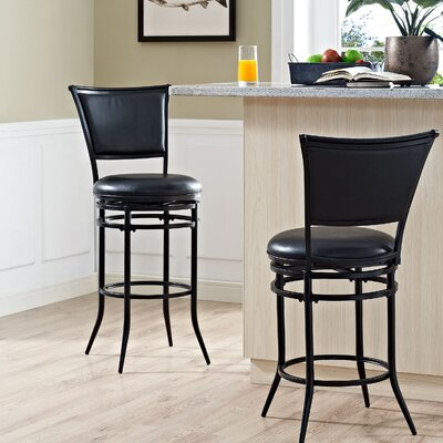 Massena 44.5 Swivel Bar Stool Upholstery: Black