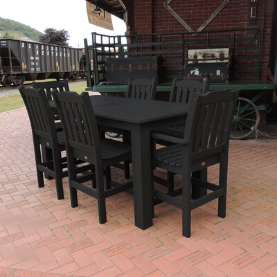 Amelia 7 Piece Bar Height Dining Set Finish: Black