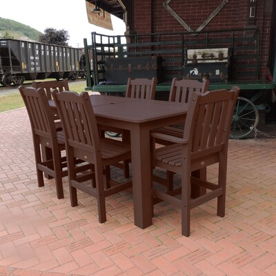 Amelia 7 Piece Bar Height Dining Set Finish: Weathered Acorn