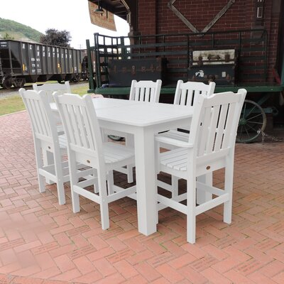 Amelia 7 Piece Bar Height Dining Set Finish: White