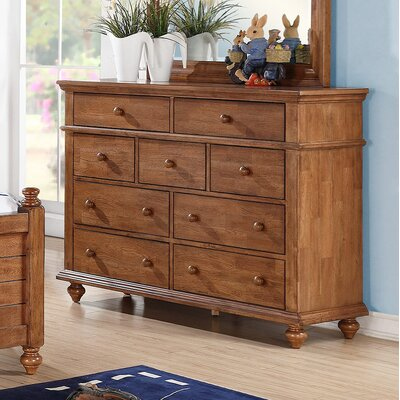 Courtdale 9 Drawer Youth Dresser Color: Acacia