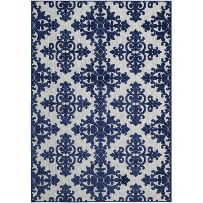 Clarence Ivory / Navy Indoor/Outdoor Area Rug Rug Size: 9 x 12