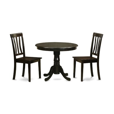 Appleridge Antique 3 Piece Dining Set Finish: Cappuccino, Upholstery: Wood Seat
