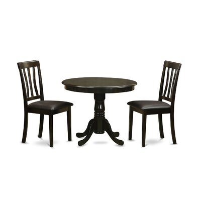 Appleridge Antique 3 Piece Dining Set Finish: Cappuccino, Upholstery: Faux Leather