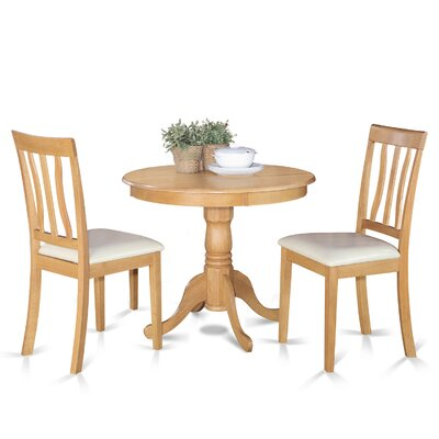 Appleridge Antique 3 Piece Dining Set Finish: Oak, Upholstery: Faux Leather