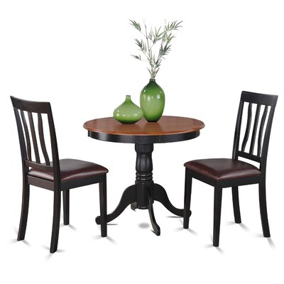 Appleridge Antique 3 Piece Dining Set Finish: Black, Upholstery: Faux Leather