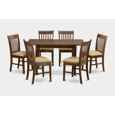 Phoenixville 7 Piece Dining Set Chair Upholstery: Upholstered, Finish: Mahogany