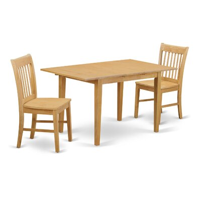 Phoenixville 3 Piece Dining Set Finish: Oak, Chair Upholstery: Upholstered
