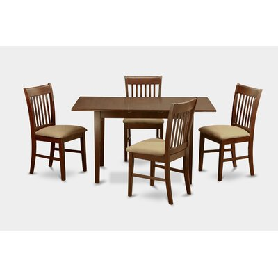 Phoenixville 5 Piece Dining Set Chair Upholstery: Upholstered, Finish: Mahogany