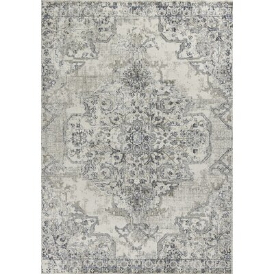 Lappin Ivory/Gray Area Rug Rug Size: Rectangle 53 x 77