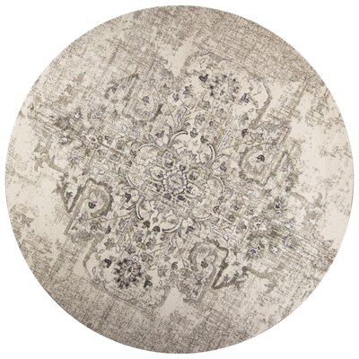 Lappin Ivory/Gray Area Rug Rug Size: Round 77
